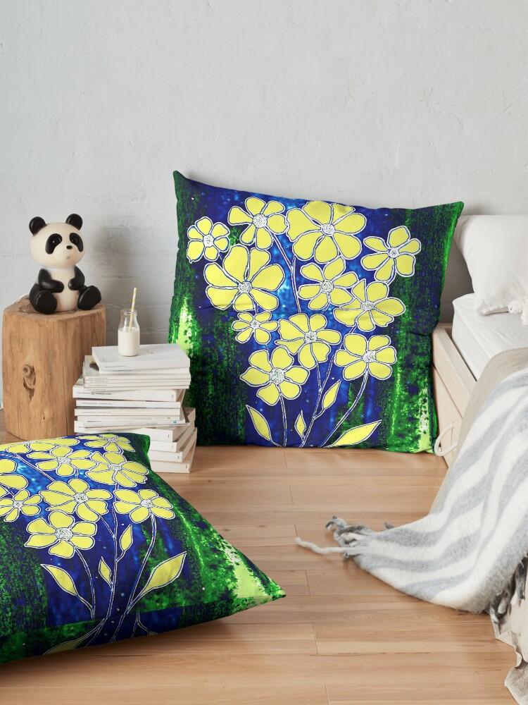 Alternate view of Flowers in Yellow Floor Pillow