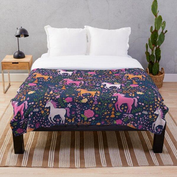 Unicorns in the Flower Garden Throw Blanket