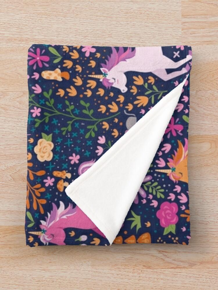 Alternate view of Unicorns in the Flower Garden Throw Blanket