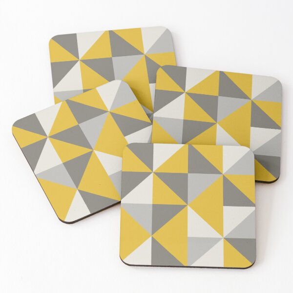 Retro Triangle Design in Yellow and Grey Coasters (Set of 4)
