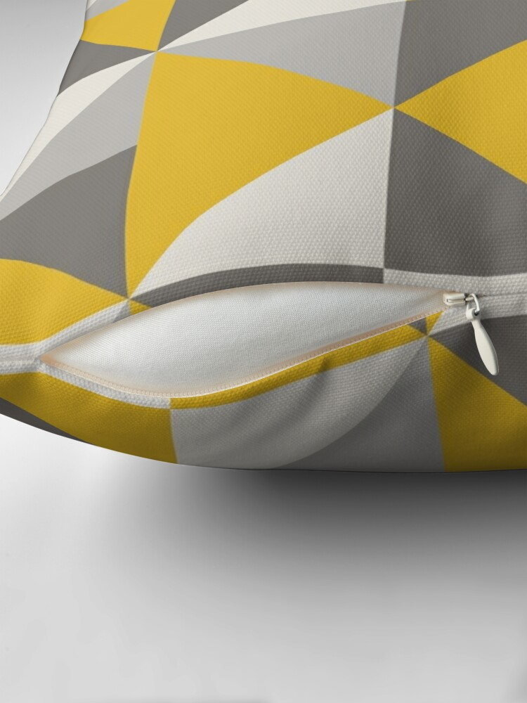 Alternate view of Retro Triangle Design in Yellow and Grey Throw Pillow