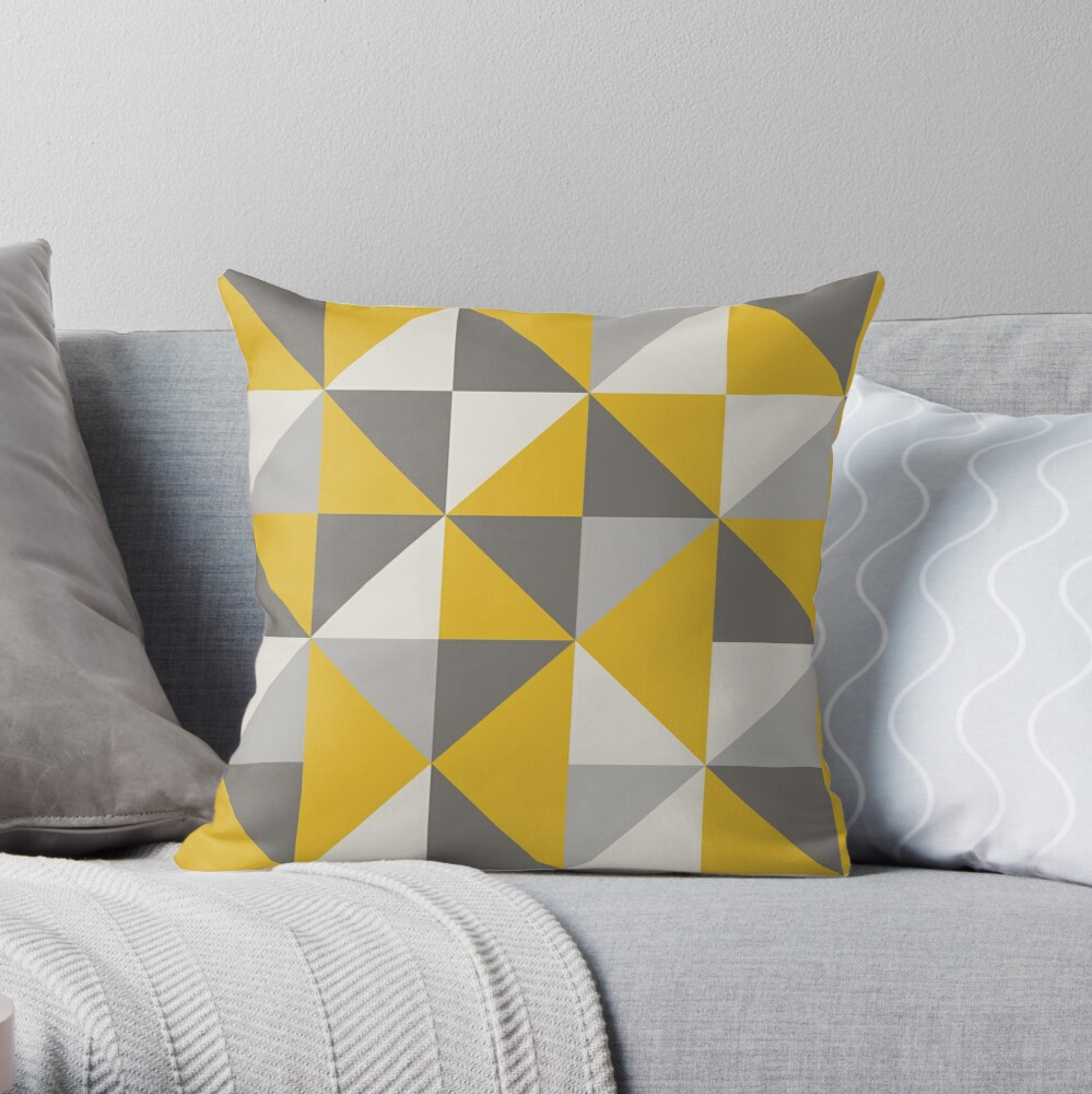 Retro Triangle Design in Yellow and Grey Throw Pillow