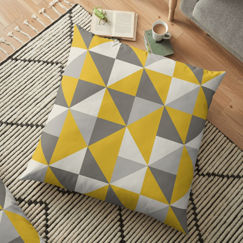 Retro Triangle Design in Yellow and Grey Floor Pillow