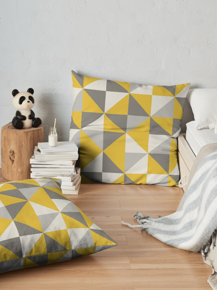 Alternate view of Retro Triangle Design in Yellow and Grey Floor Pillow