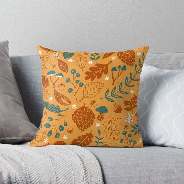 Fall Foliage with Acorns + Mushrooms Throw Pillow
