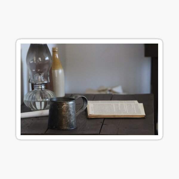 Vintage Tin Cup and Book on Desk 2 Sticker