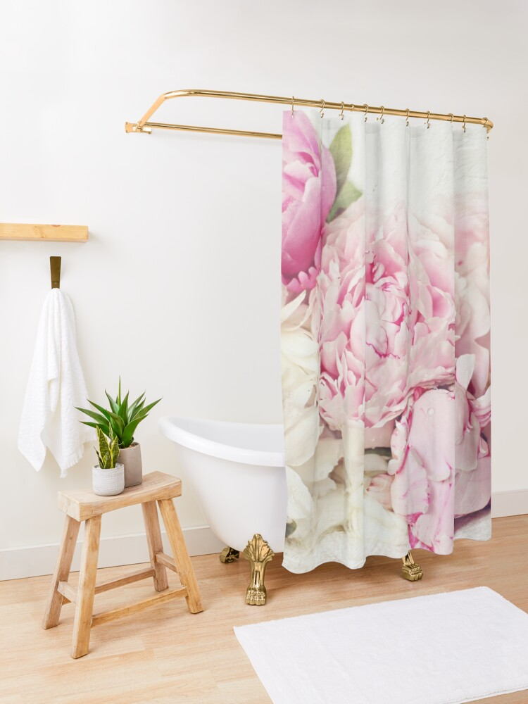 Alternate view of Peonies on white Shower Curtain