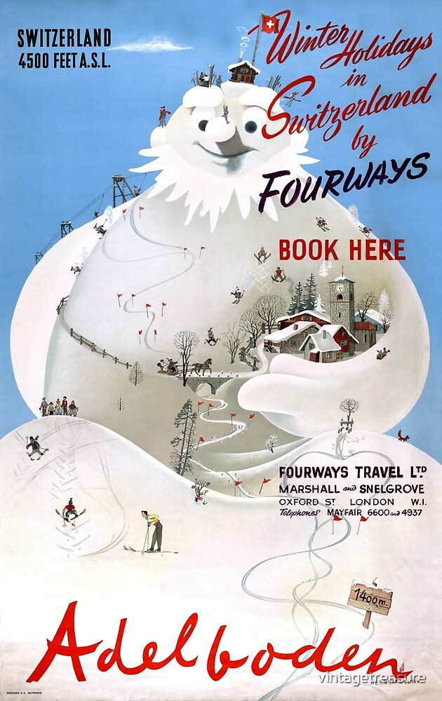 Switzerland Adelboden Vintage Travel Poster by vintagetreasure
