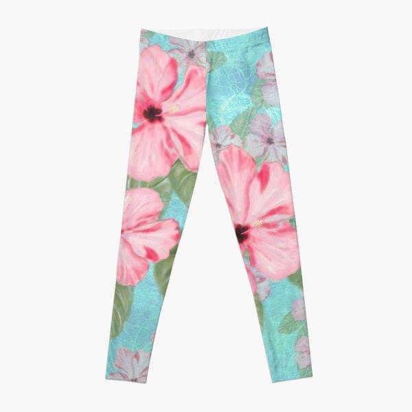 Tropical Hibiscus Floral Print Pink and Aqua Leggings
