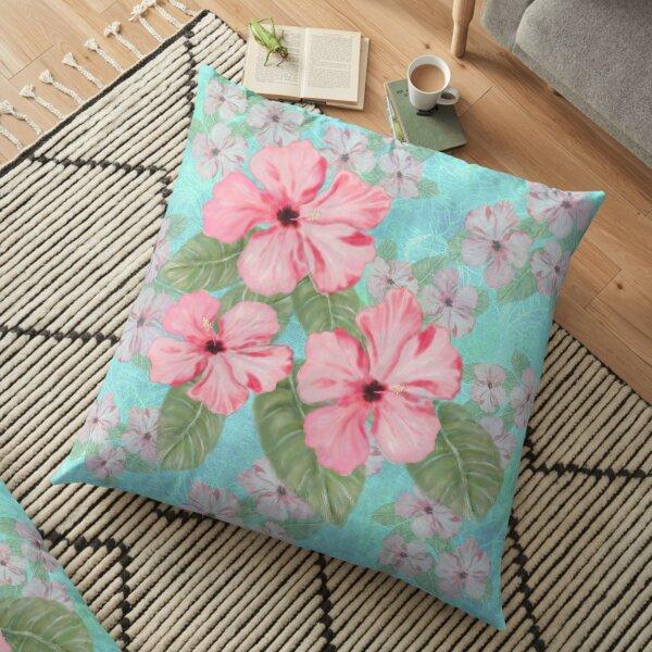 Tropical Hibiscus Floral Print Pink and Aqua Floor Pillow