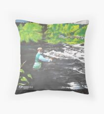 fishing the river carron Throw Pillow
