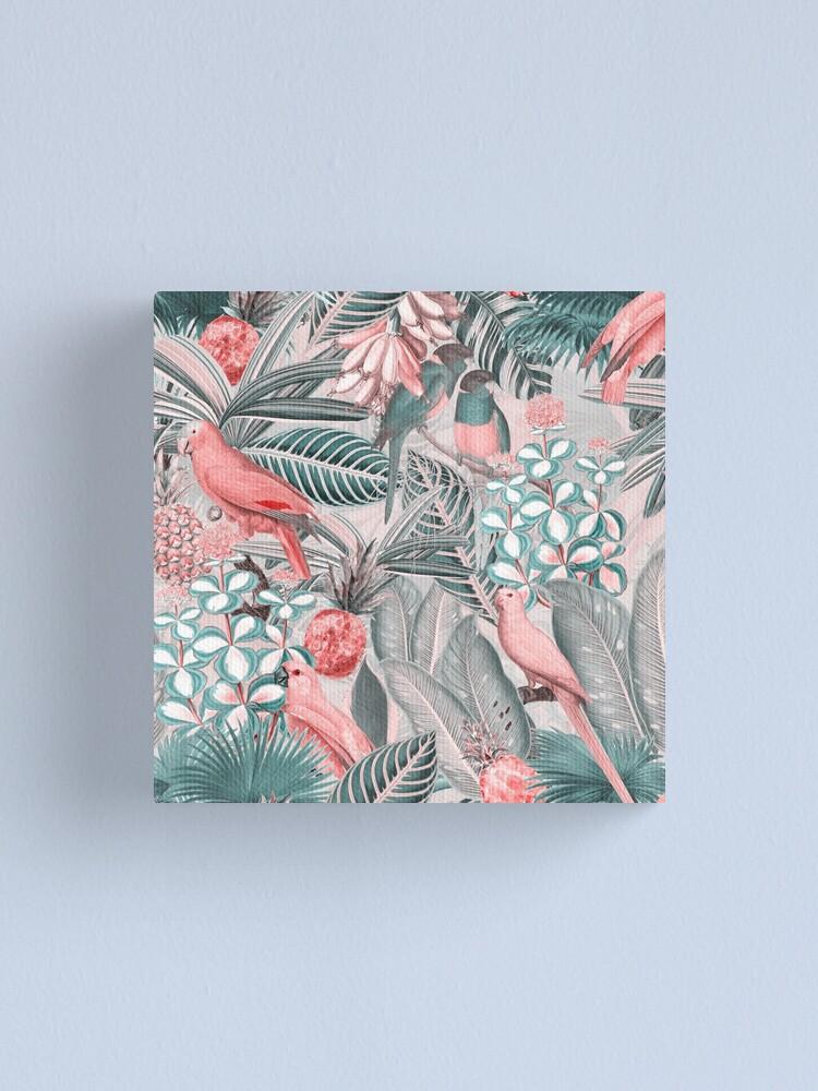 Alternate view of Redouté tropical birds jungle flowers pattern sepia pink Canvas Print