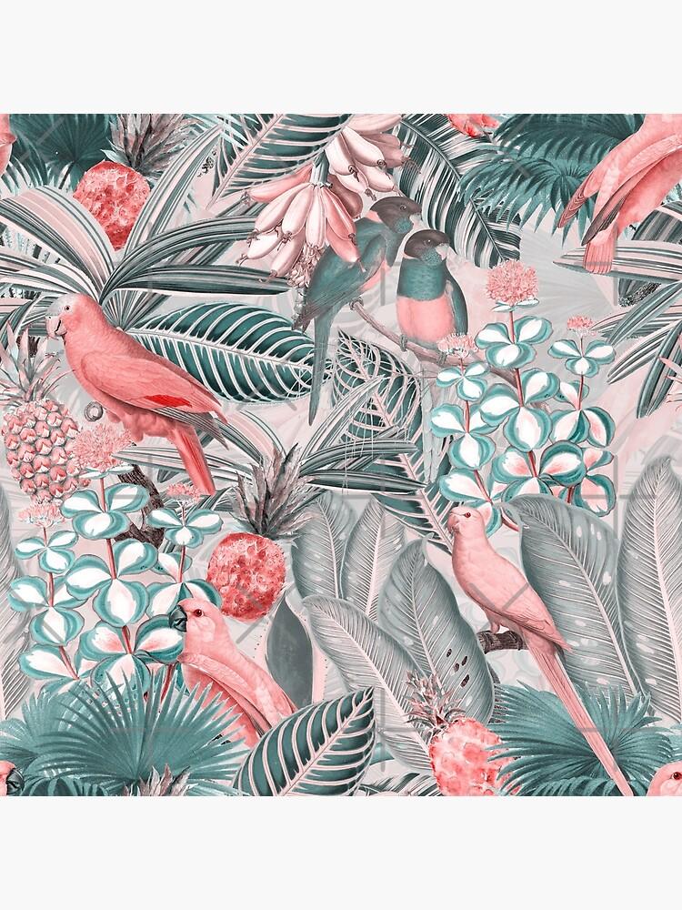 Redouté tropical birds jungle flowers pattern sepia pink by UtArt