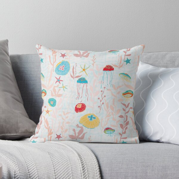 Jellyfish Garden repeat pattern Throw Pillow