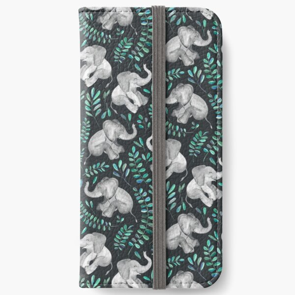 Laughing Baby Elephants – emerald and turquoise iPhone Wallet