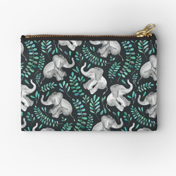 Laughing Baby Elephants – emerald and turquoise Zipper Pouch