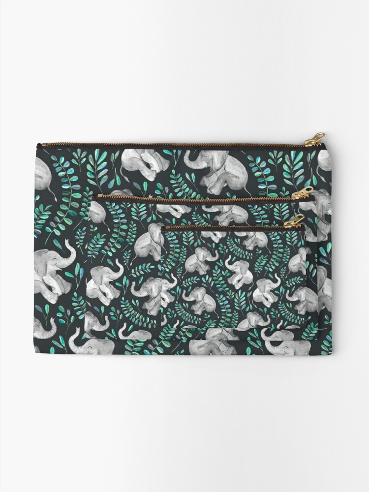 Alternate view of Laughing Baby Elephants – emerald and turquoise Zipper Pouch