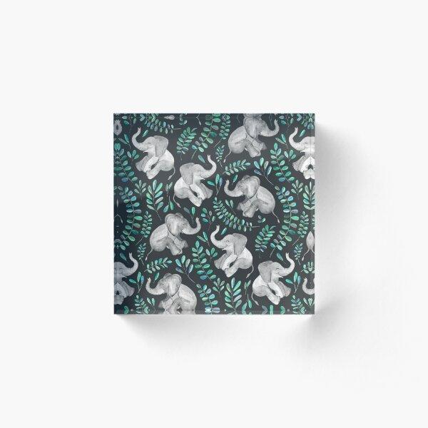 Laughing Baby Elephants – emerald and turquoise Acrylic Block