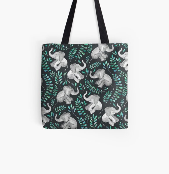 Laughing Baby Elephants – emerald and turquoise All Over Print Tote Bag