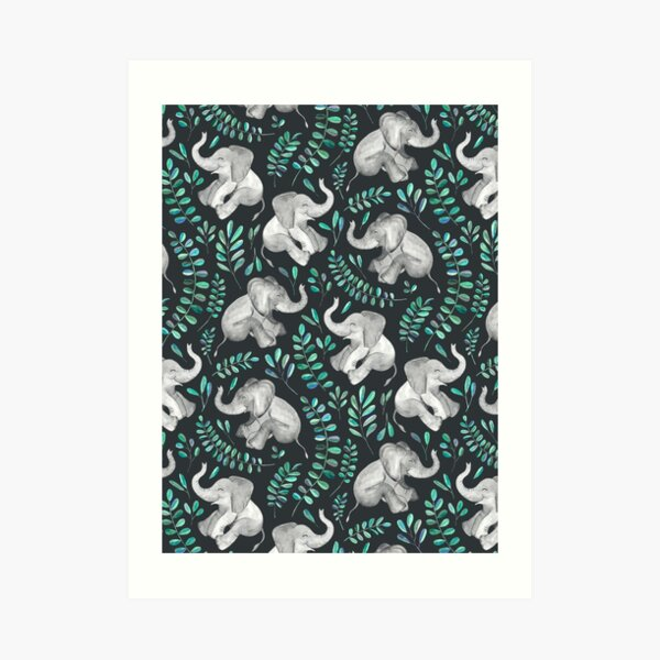 Laughing Baby Elephants – emerald and turquoise Art Print