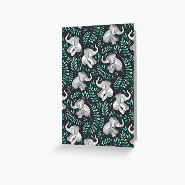 Laughing Baby Elephants – emerald and turquoise Greeting Card