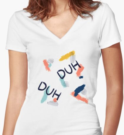 DUH Pattern #redbubble #pattern Fitted V-Neck T-Shirt