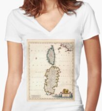 Vintage Sardinien und Korsika Karte (1682) Tailliertes T-Shirt mit V-Ausschnitt