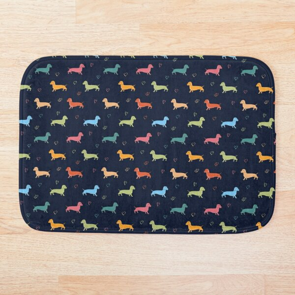 Multicolour Sausage Dog and Hearts Pattern (Navy) Bath Mat