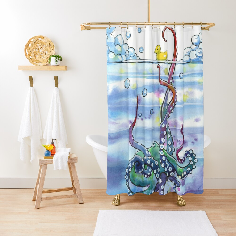 Bath Time Octopus Shower Curtain