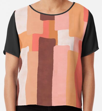 Line In Coral #redbubble #abstractart Chiffon Top