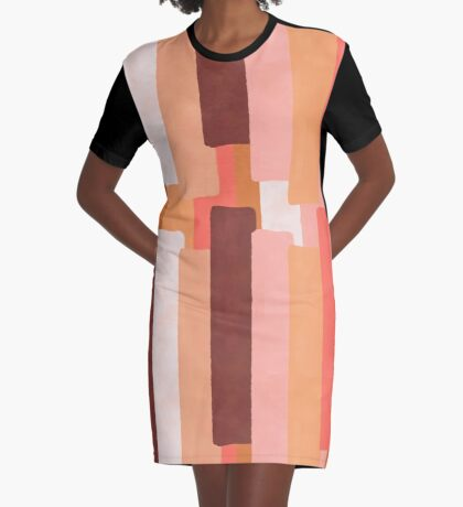 Line In Coral #redbubble #abstractart Graphic T-Shirt Dress
