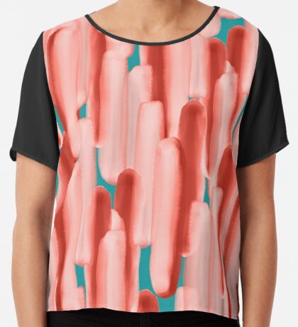 Live In Coral #redbubble #abstractart Chiffon Top