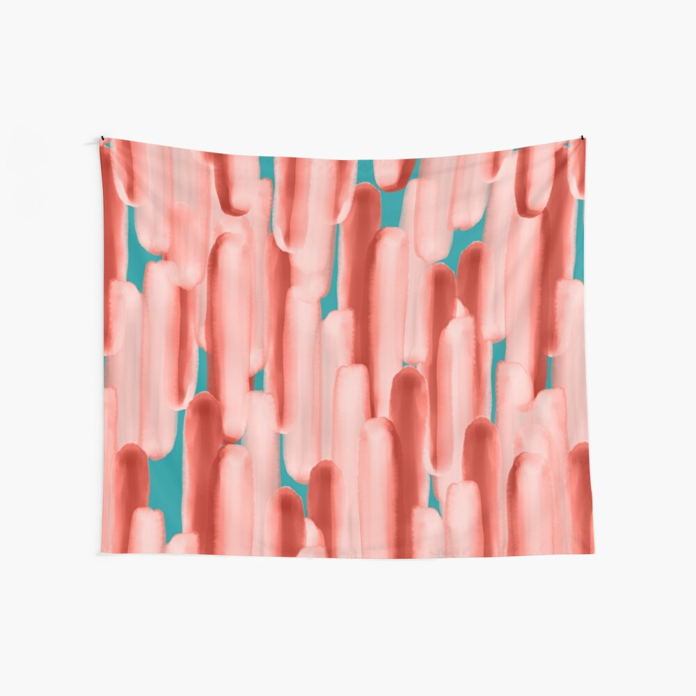 Live In Coral #redbubble #abstractart Wall Tapestry
