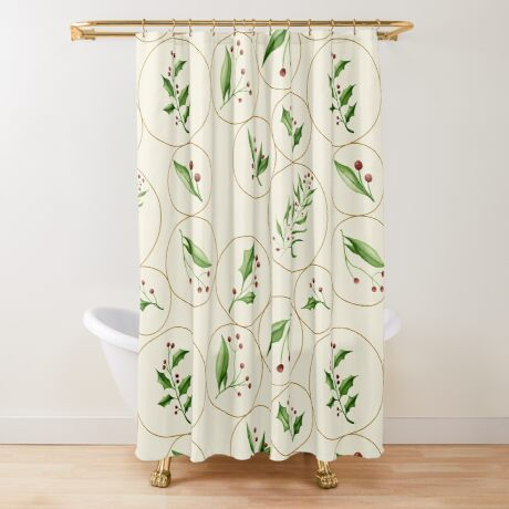 Berries Baubles #redbubble #xmas Shower Curtain