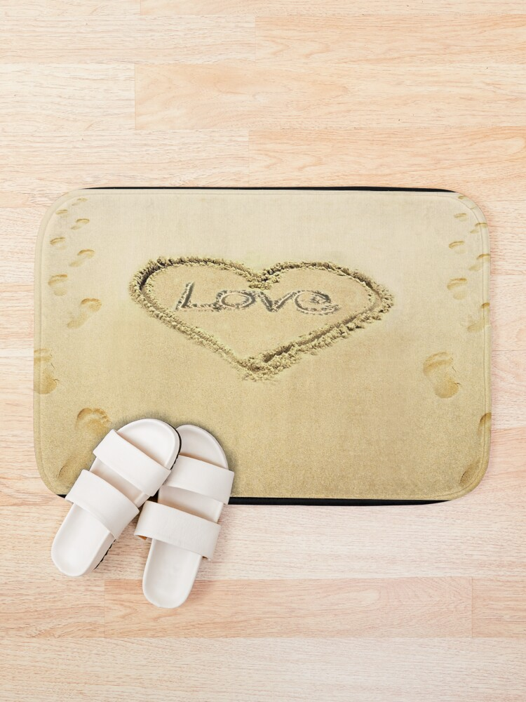 Alternate view of Love Heart in the Sand  Bath Mat