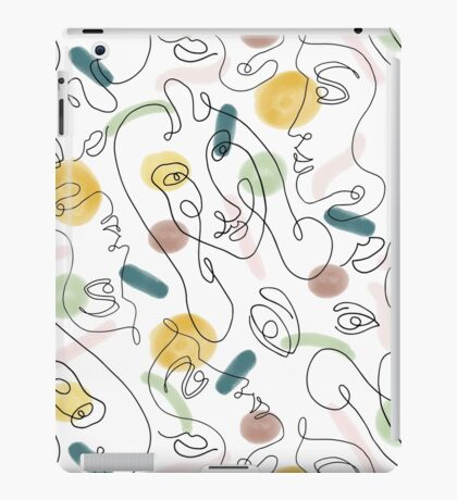 One Line Portraits #redbubble #figurative iPad Case/Skin