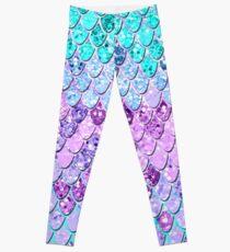 Mermaid Scales with Unicorn Girls Glitter #9 #shiny #decor #art Leggings