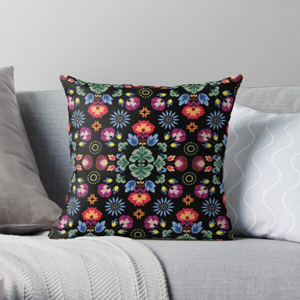 Fiesta Folk Black #redbubble #folk Throw Pillow