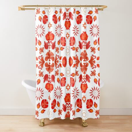 Fiesta Folk Red #redbubble #folk Shower Curtain