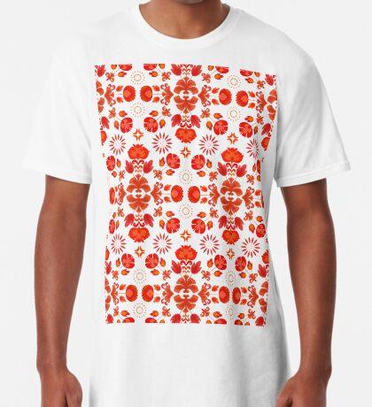 Fiesta Folk Red #redbubble #folk Long T-Shirt