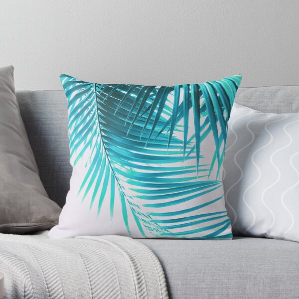 Palm Leaves Turquoise Summer Vibes #1 #tropical #decor #art Throw Pillow