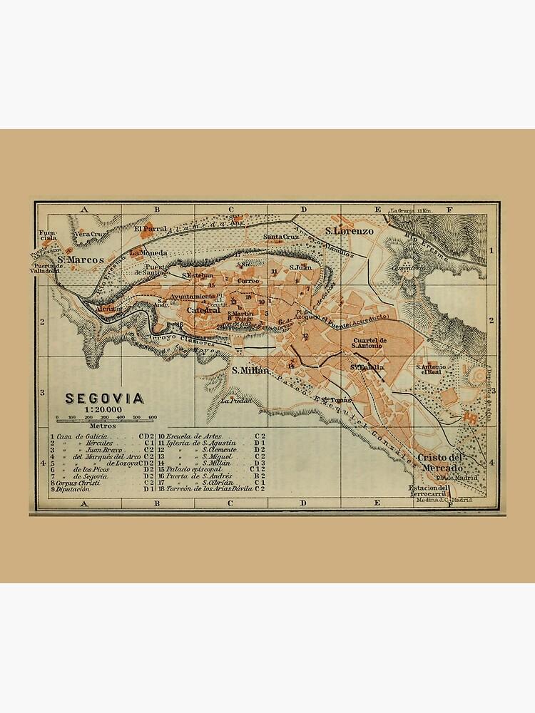 Vintage Segovia Spain Map (1913) by BravuraMedia