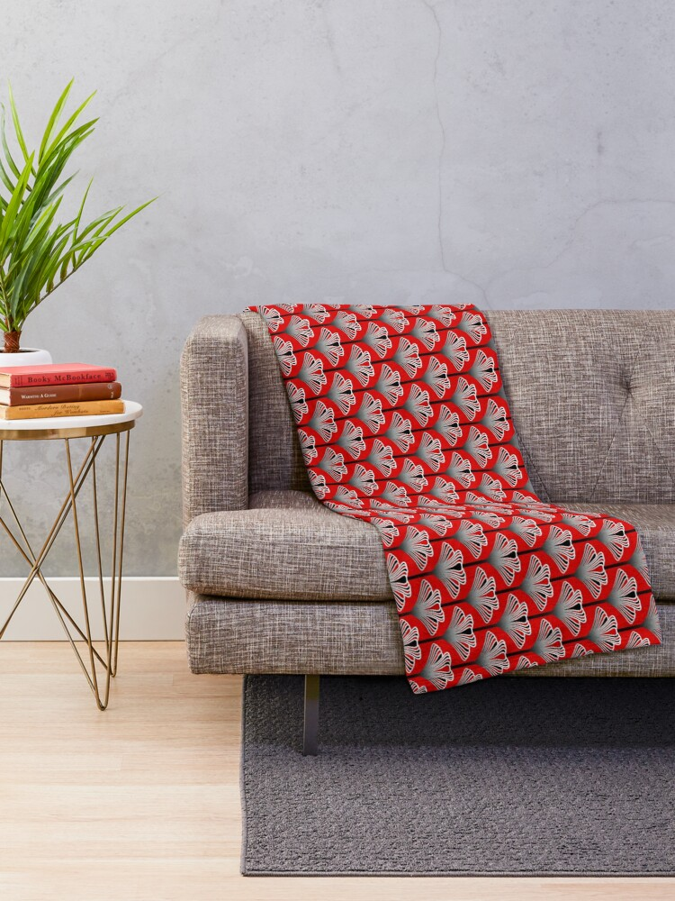 Alternate view of Art Deco Lily, Deep Red Throw Blanket