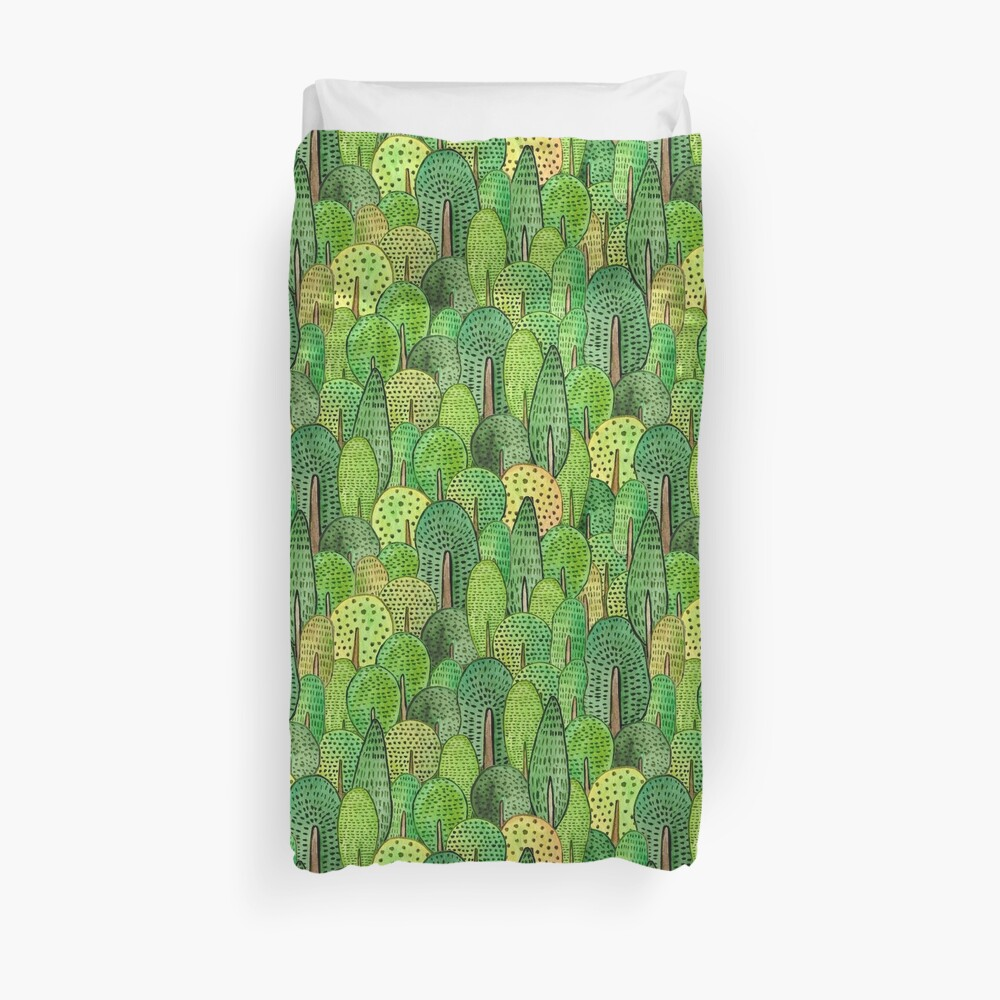 Watercolor forest Duvet Cover