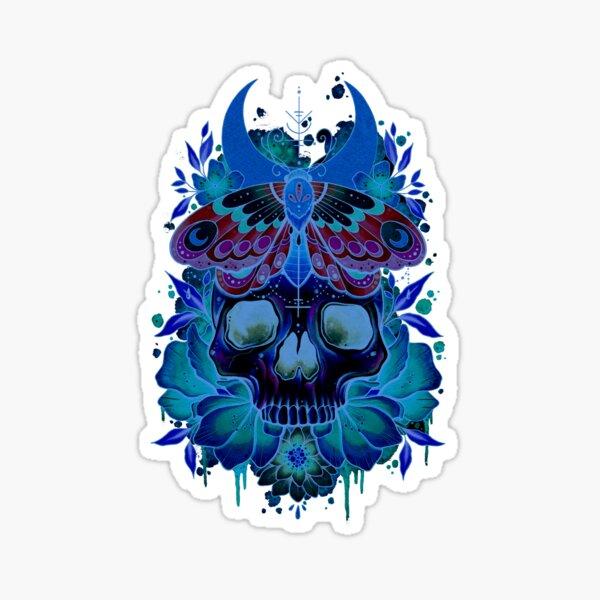 Skull and Moth Neon Design Sticker