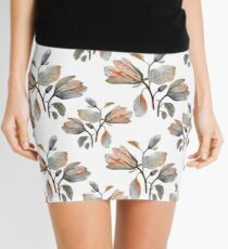 Watercolor Magnolia in Autumn Mini Skirt