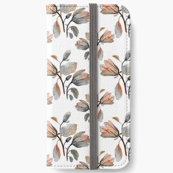 Watercolor Magnolia in Autumn iPhone Wallet