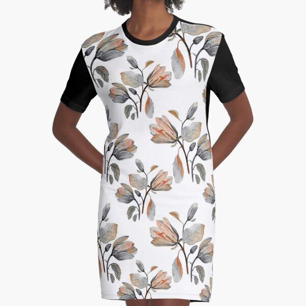 Watercolor Magnolia in Autumn Graphic T-Shirt Dress
