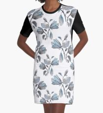 Dusty Blue Magnolia Pattern Graphic T-Shirt Dress
