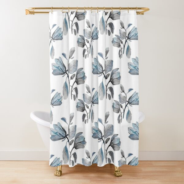 Dusty Blue Magnolia Pattern Shower Curtain